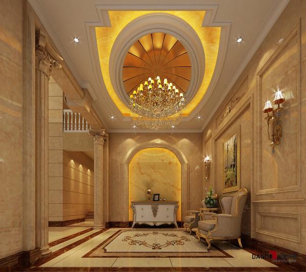 名雕丹迪设计-葡萄庄园别墅-欧式风格玄关:金碧辉煌,大气蓬勃意境。