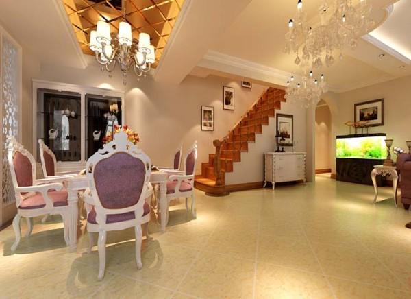 餐厅 木雕屏风,开放式厨房,弧形垭口,茶色车边镜吊顶 设计理念:餐厅整体选择调和的色彩,以茶色镜子为顶面,木雕镂花的衬托,墙面颜色的明亮、白色家具的大气。