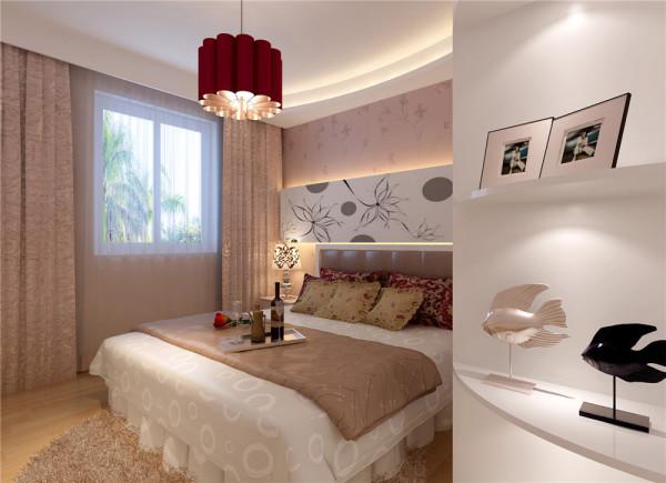 """温馨浪漫的氛围个性张扬的背景,让小两口之家的卧室简约而不简单。亮点:下上暗藏的灯带给休息的空间点缀了色彩,手绘的运用让空间更加的突出个性及重点,整体柜式的收纳空间让家里更加""""大容量""""。"""