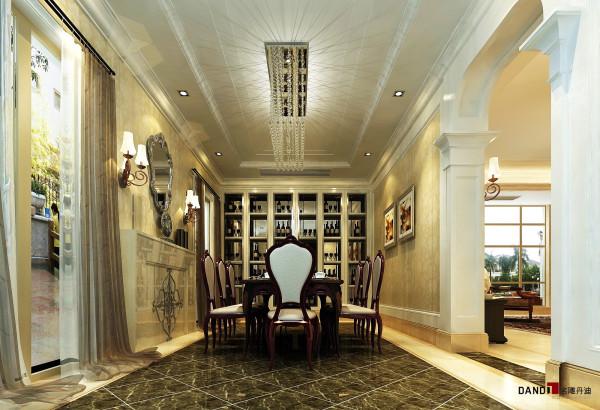 名雕丹迪设计-聚豪园熙园别墅-欧式餐厅:餐厅与整个墙面酒柜融为一体。
