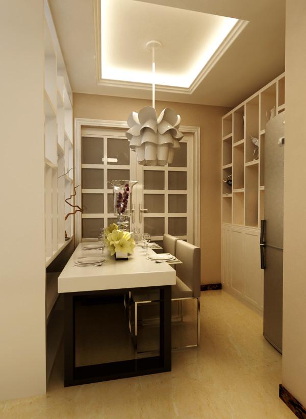 餐厅部分在与业主沟通后,把餐桌的位置放靠在展示架一侧。冰箱位置做了整体定制收纳柜的设计
