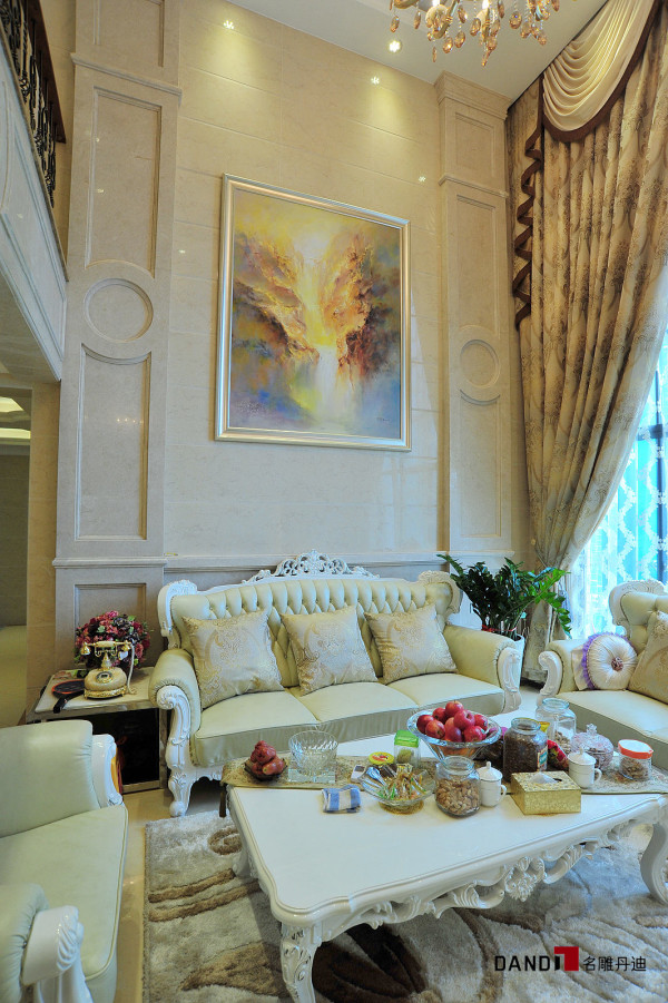 名雕丹迪设计-锦绣花园别墅-简欧风格客厅