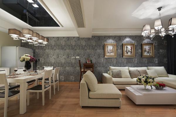 从客厅延伸至餐厅的浅灰色背景,浓浓的笔墨风。