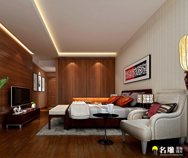 名雕装饰设计-万科运河东一号三居室-新中式卧室:打造现代中式的诗书人家。