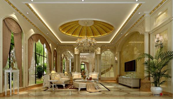 名雕丹迪设计-长安四季豪园别墅-欧式客厅