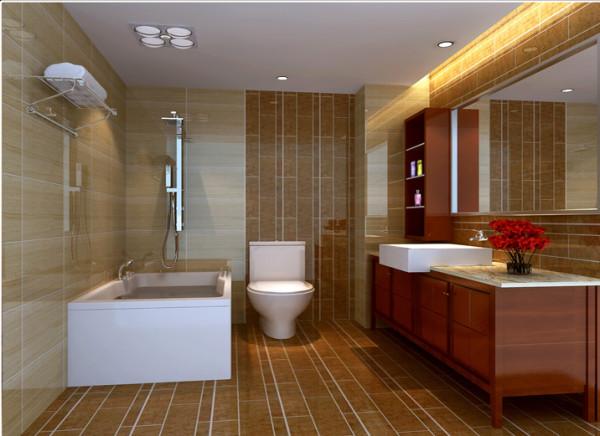 卫生间并没有运用过多的装饰,以实用为主,通过墙地砖不同铺贴方法来达到空间的个性效果,简单实用。