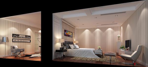 名雕丹迪设计-三正半山别墅-现代简约卧室