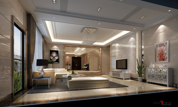 名雕丹迪设计-三正半山别墅-现代简约客厅