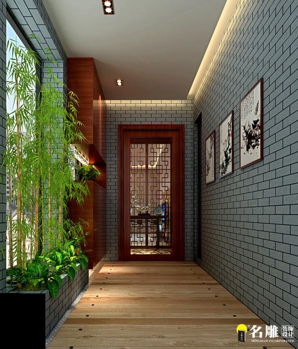 名雕装饰设计-万科运河东一号-新中式玄关:中式门庭,青砖配青竹意境无穷
