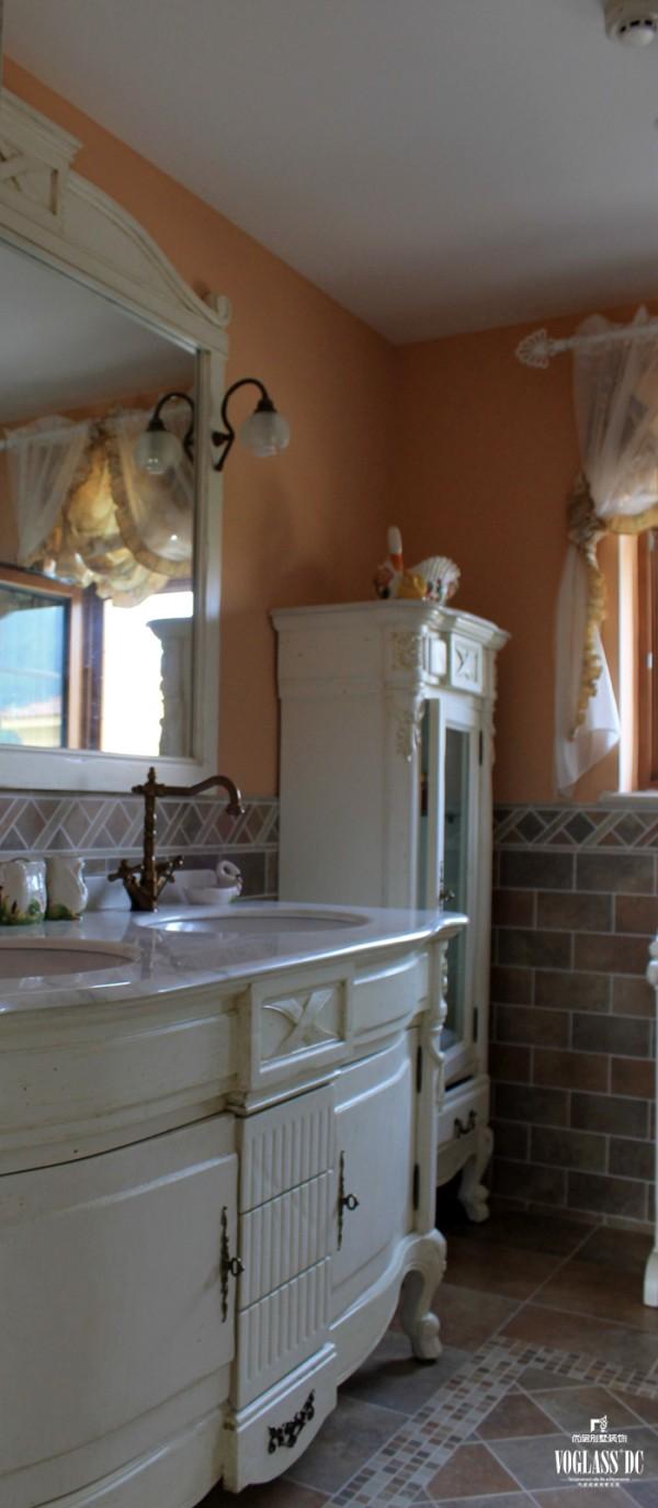 尚层装饰别墅设计之天恒别墅山美式田园风格,卫生间洗手台设计