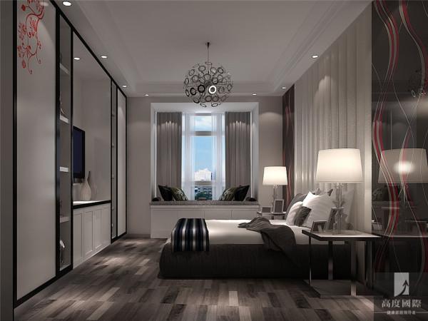 主卧,设计线条简约流畅,家具色彩对比强烈,这是现代风格家具的特点。