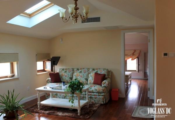 尚层装饰别墅设计之天恒别墅山美式田园风格,起居室设计