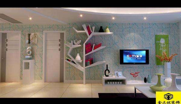 沙发背景采用石膏板造型,结合渐变色的,音符式的造型,使整体亮点更生动。