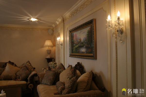 锦绣花园三居室-美式田园风客厅沙发背景
