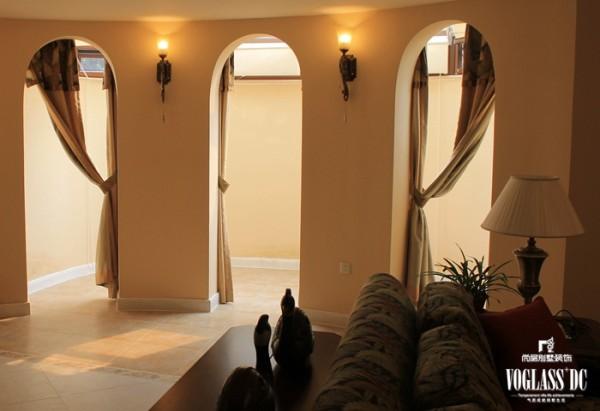尚层装饰别墅设计之天恒别墅山美式田园风格,走廊设计