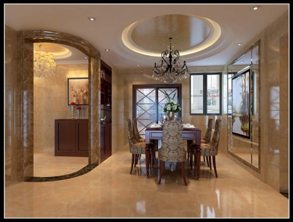 该户型原餐厅区在宽度上有些许欠缺,设计上利用玄关造型将酒柜隐藏,加上柜体对面的镜面造型的扩张效果!显得更加完美。