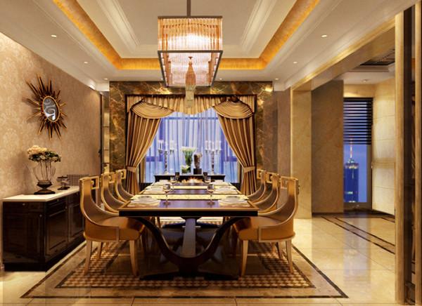 丽简单的餐厅设计理念:淡雅黄色的墙面、明亮的天花在明亮地砖的映衬下营造的是痛快、利落、干净的氛围。吊灯,地灯,和筒灯带来的光源效果让就餐的气氛温馨了许多。
