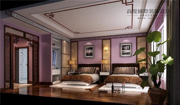 西山壹号院新中式风格别墅卧室效果图。