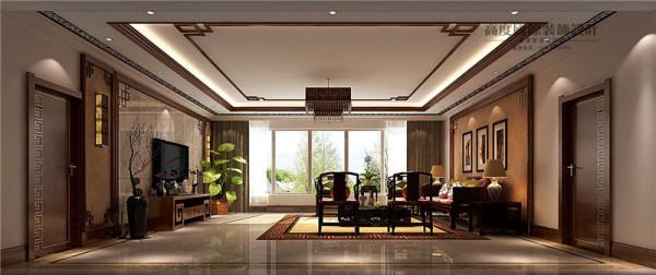 西山壹号院新中式风格别墅客厅效果图。