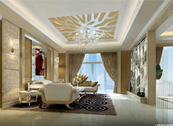 定制的玻璃造型和,沙发背景用牛皮软包,使整个空间色彩变丰富协调。
