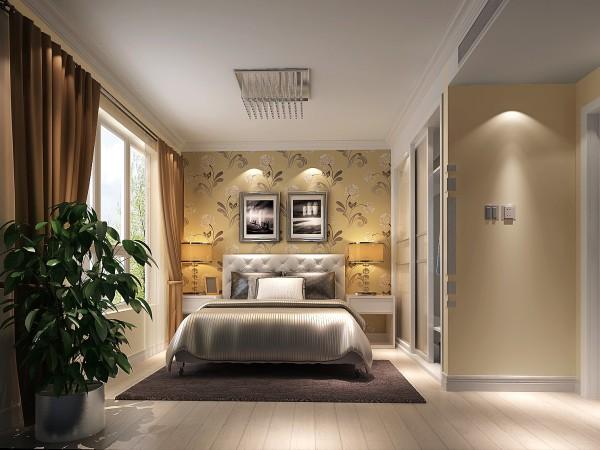 润泽公馆现代简约风格卧室效果图。
