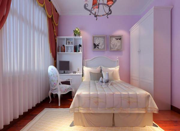 设计理念:抛开美式乡村风格的束缚,复合孩童的幻想,淡淡的紫色墙漆,白色家具组合。干净,明朗。 亮点:简单,大方,浪漫、明朗。