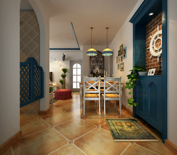 这个户型入户口进去就是餐厅,位置也非常小。就设计了一个4人的小餐桌靠墙房,入户处是个鞋柜,设计的很有格调吧。