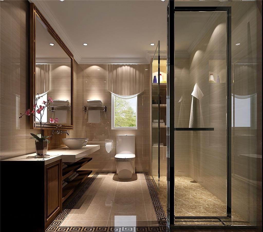 新中式润泽公馆装饰设计装修效果图卫生间