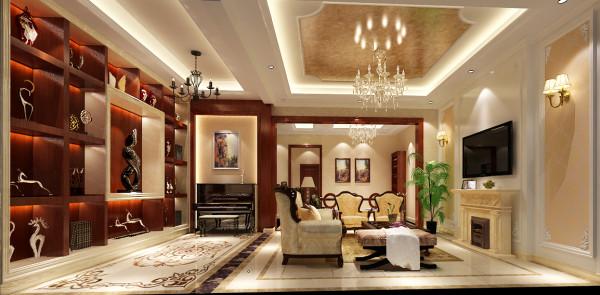 欧式的家具和穹顶包括灯具的组合显得客厅更加的奢华