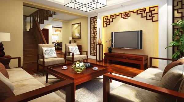 中式的电视墙、家具、天花、结合起来不仅体现出中式风格的端庄大气,更是体现出中国古典艺术的风范。