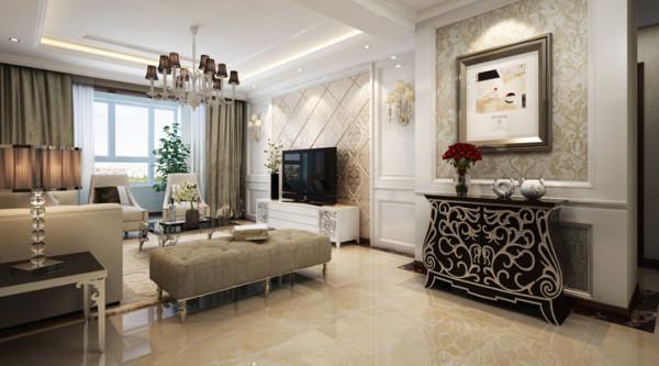 电视背景墙采用软包设计,奢华中带来一种舒适。
