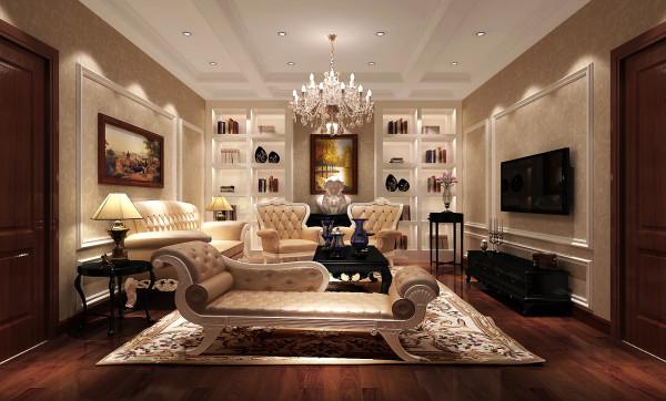 燕西台400㎡简欧风格别墅会客厅效果图。