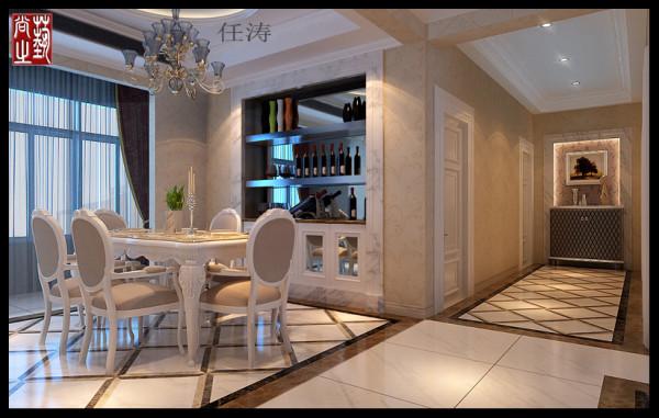 2、餐厅:餐厅背景墙嵌入式酒柜让空间最大化的释放,让有限的空间生动起来。更加有立体感。