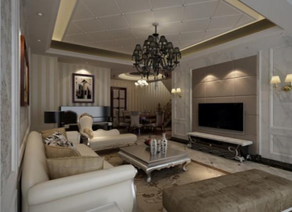 雪花白大理石+软包的电视背景墙线形流动、软硬的变化,色彩简洁 素雅