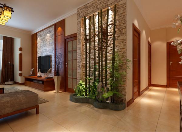 设计理念;入户门是整个居室的门面,结合禅意空间,做了一个水幕墙。给人一进来眼前一亮的感觉,也使人身临其境。