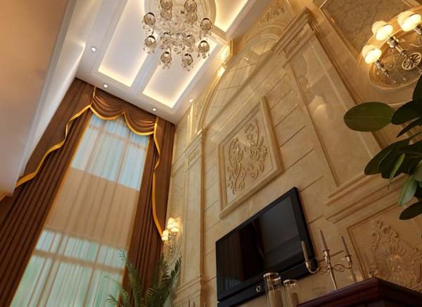 设计理念:整体风格欧式简约偏暖色调,樱桃木家具结合布艺,使空间看上去大气,简洁、明快 亮点:客厅挑空部分使背景墙的增加,运用大理石做效果更突出,两边的罗马柱更加深欧式风格特点。