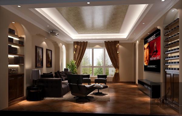 影音室 选择托斯卡纳风格,主要基于以下两方面考虑:一是考虑别墅的整体设计风格,本身带有浓郁的乡村风格,石质墙体、铁艺护栏、红色陶土屋等,这些都是托斯卡纳风格的典型特点。二是考虑业主个人品味、修养等因素