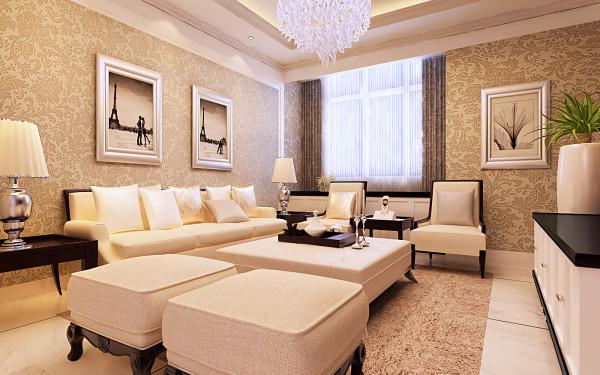 客厅:地面波导线分区,金花白铺满,电视背景墙采用整体造型的方式,以香槟金线条为界面,用皮质硬包和印花玻璃打造时尚的气息,沙发墙采用整体欧式花纹平铺,剧中两幅银色相框挂画,营造出沉稳大气的氛围