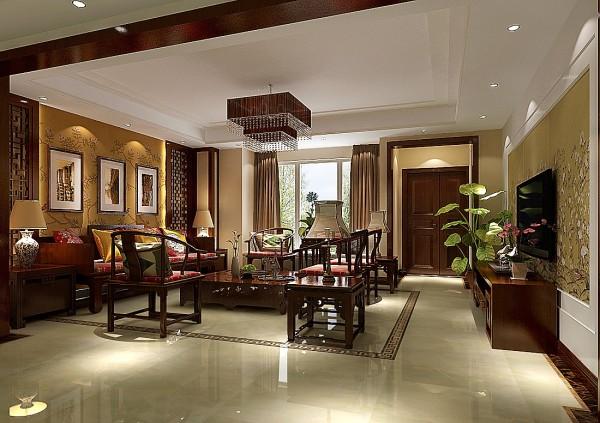 8哩岛现代中式风格别墅——客厅效果图。