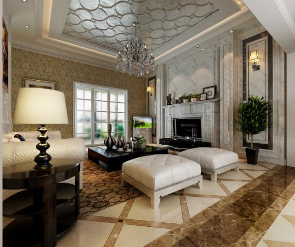 吊顶与电视墙均采用白色调,配上经典造型的欧式花纹壁纸,显得更大气