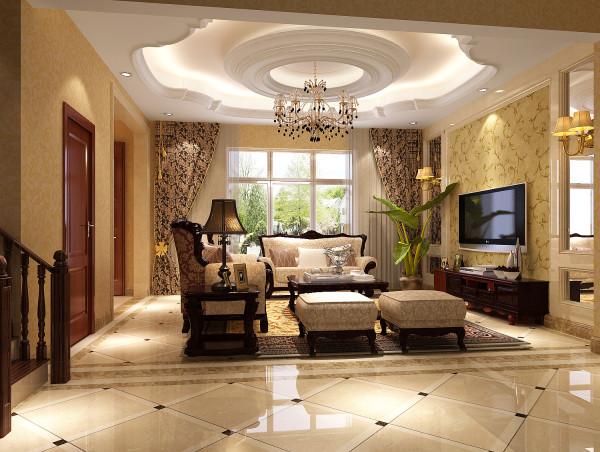 燕西台400㎡简欧风格别墅客厅效果图。