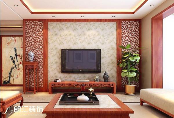 【西安朗汇装饰】新中式风格客厅电视背景墙赏析