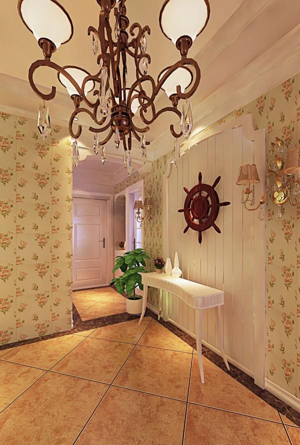 欧式小碎花壁纸,乳白顶角线,营造出安静惬意的氛围。
