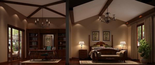 龙湖香醍漫步300㎡托斯卡纳风格卧室效果图。