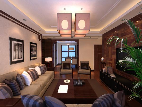 客厅:电视背景墙采用整体造型的方式,拼花木地板上墙做主背景处理,沙发墙相对电视墙用木线勾勒连绵的造型,犹如业主的性情,蹉跎岁月中恬静从容,与电视墙交相辉映,凸显业主的低调情怀。