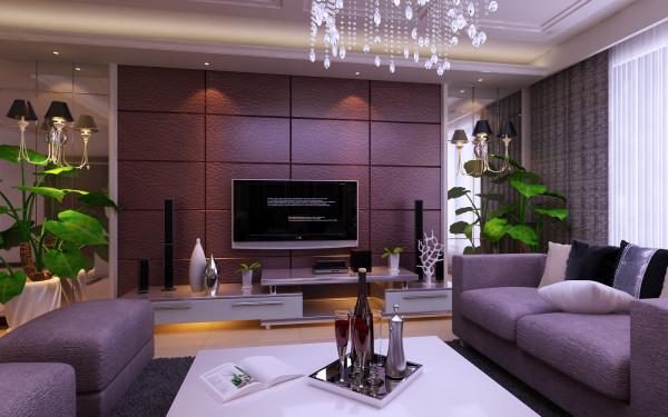 电视背景墙采用硬包和镜面结合的方式,以白色线条为界面,用深咖啡皮质硬包倒角拼接造型,凸显出大气奢华感
