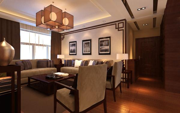 客厅:地面满铺实木复合地板,电视背景墙采用整体造型的方式,拼花木地板上墙做主背景处理,极具质感,以实木线造型收边,以凸显业主沉稳大气的风格。