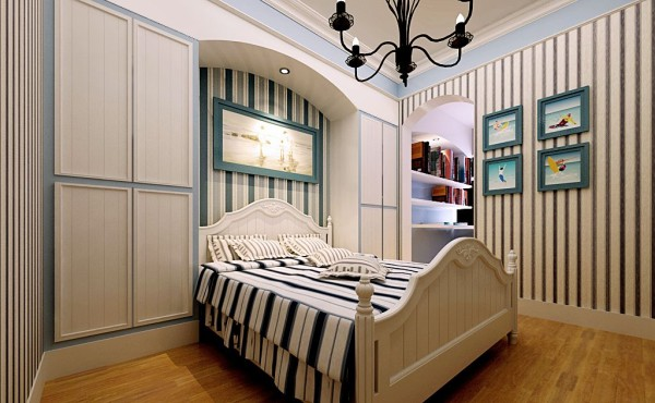 次卧室:次卧室为女儿房,墙面采用淡粉暗花壁纸结合白色家具,浪漫淡雅