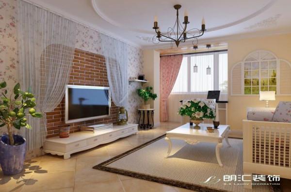【陕西朗汇装饰】三居室田园风格客厅电视背景墙赏析