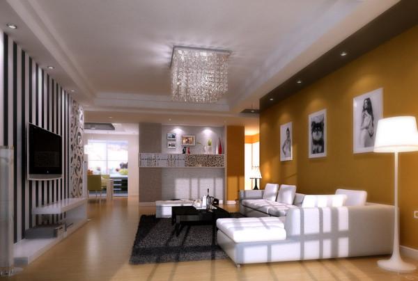 简洁大方的客厅配上深金色的沙发墙,是不是也很有味道